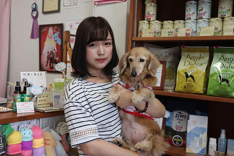茶色の犬を抱く女性